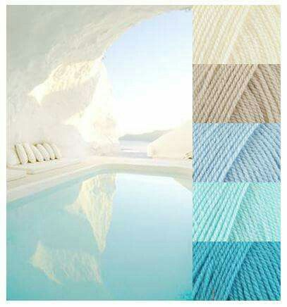 Colors are Stylecraft Special DK in Cream, Parchment, Cloud Blue, Sherbet and Turquoise