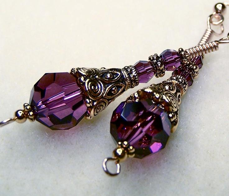 Swarovski Crystal Plum Purple Earrings, via Etsy.