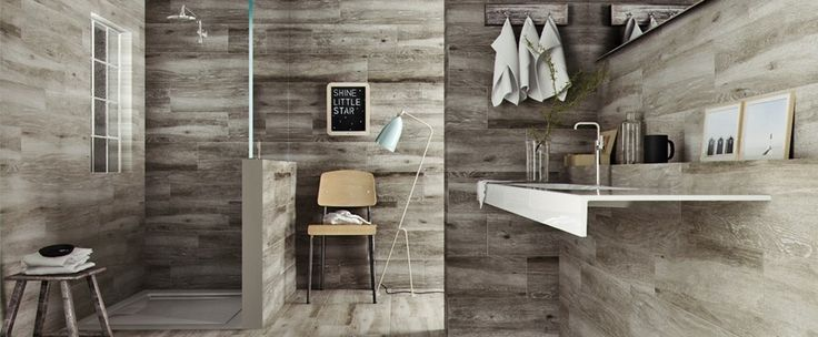 I really like the design of this bathroom - one my biggest bugbears is shower doors and curtains - much prefer to just be able to walk straight into the shower area - this one is very practical (The Sandalo Wood Effect Bathroom Floor Tiles Range - Tile Mountain)