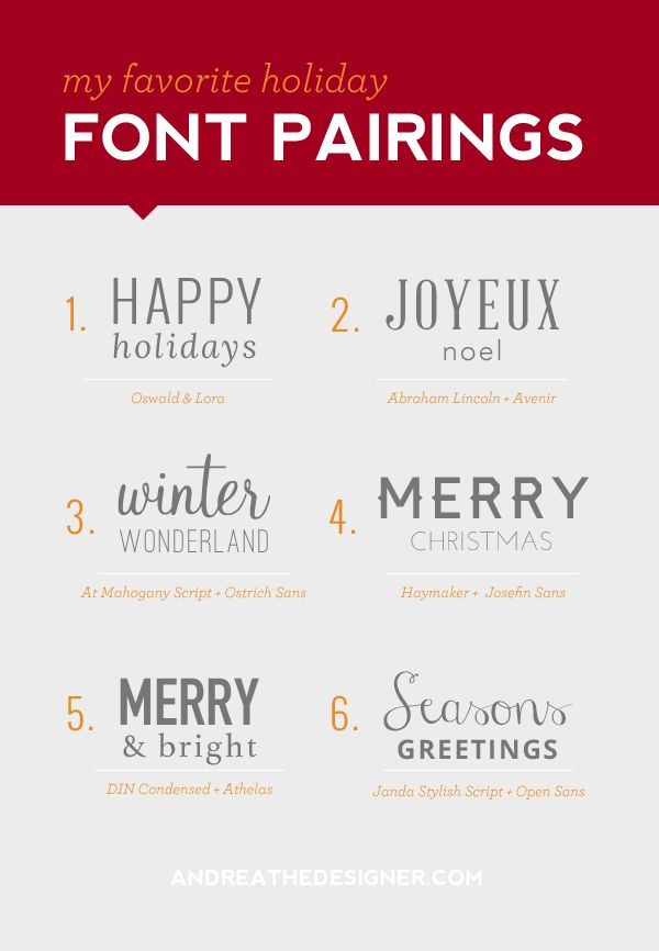 Holiday Font Pairings || andreathedesigner.com