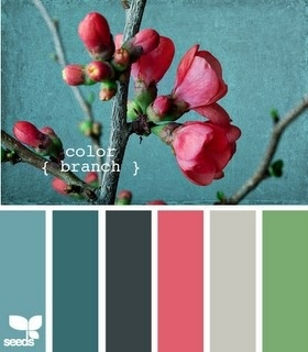 Hallway, teal blue/ green with pink accents to stop the hallway feeling cold.