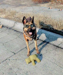 ladym0rrigan: Giving Dogmeat a teddy bear