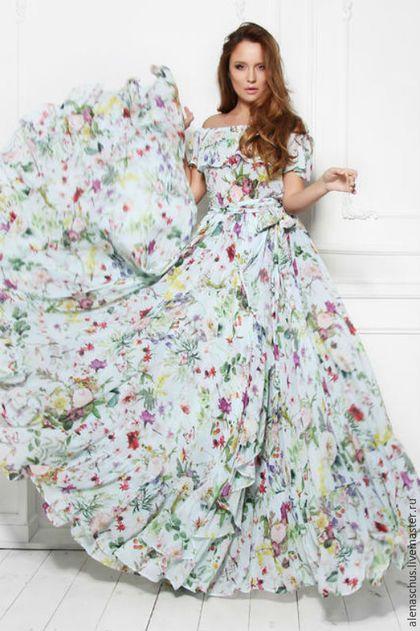 Maxi dress / Платья ручной работы. Ярмарка Мастеров - ручная работа. Купить Шикарное платье из шифона. Handmade. Белый, сарафан в пол