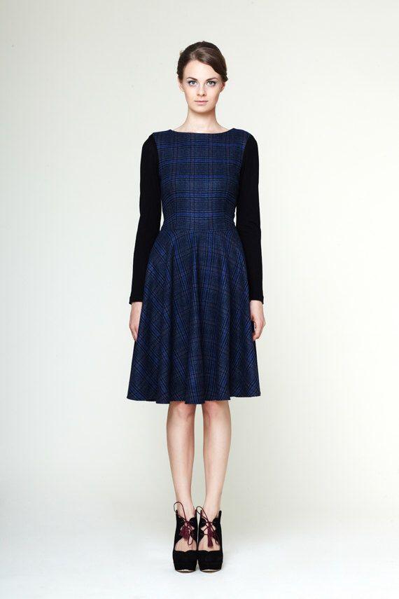 Dress with circle skirt, Navy dress, Long sleeve dress,  boat neck dress, winter dress by Mrs Pomeranz by mrspomeranz on Etsy https://www.etsy.com/listing/186836467/dress-with-circle-skirt-navy-dress-long