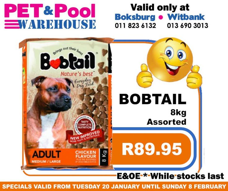 Great saving at Pet & Pool Warehouse Boksburg and Witbank, such as assorted Bobtail 8kg dog food only: R89.95. Specials are valid from 20th of January 2015 until 8th of Febuary 2015. While Stocks Last *E&OE