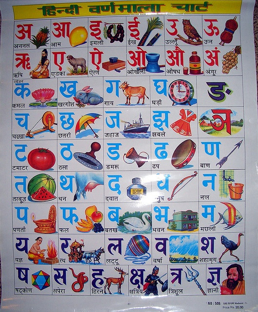 Hindi Alphabet Poster | Vintage India | Pinterest | Language ...