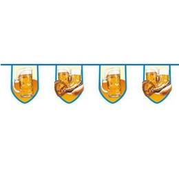 Apres ski vlaggenlijn bier met braadworst jumbo -  Apres ski slinger. Een grote jumbo vlaggenlijn met een lengte van 8 meter! Op de vlaggenlijn staan bierpullen en broodjes braadworst afgebeeld! Perfect voor Apres Ski feesten! De hoogte van deze vlaggenlijn is ongeveer 40cm. Ook voor Oktoberfest. | www.feestartikelen.nl