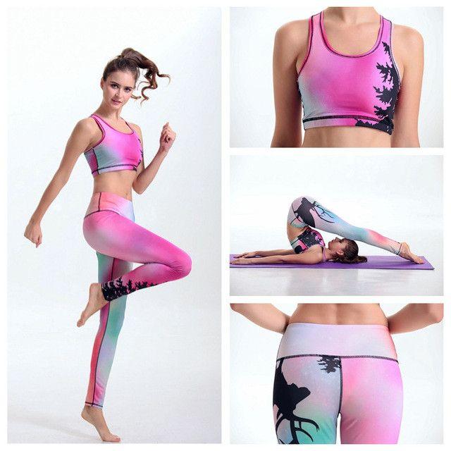 Geometric Splicing Sports Sets Sexy Waist Women Yoga Suit Bra Running Pants Sportwear Geometrical Abstraction Tracksuit FTYD46