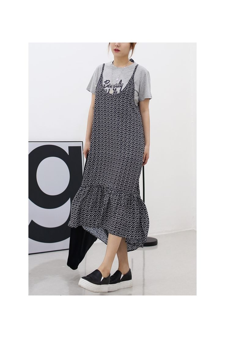 Floral patterned dresses for women. A-line dresses, asymmetric hem, sleeveless summer dresses. Good for layered, wear for picnic, weekend, travel.