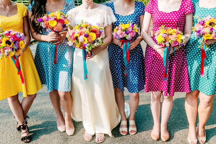 colourful bridesmaids dresses, rainbow bridesmaid dress, polka dot bridesmaid dress, short bridesmaid dress, colourful wedding flowers, Kent wedding venue, colourful wedding photography by Fun & Quirky, wedding photographer www.els-photography.com