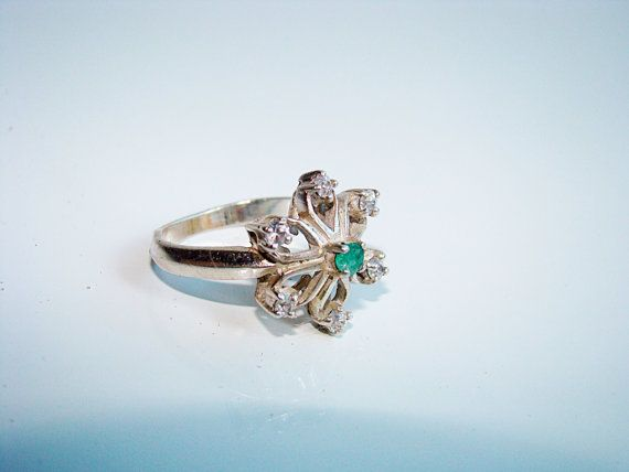 Vintage sterling silver 925 ring with emerald stone and by Jelifem