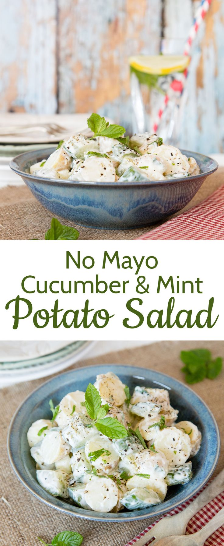 This healthy potato salad is made without mayo and includes cool mint and cucumber for a low heat, simple summer side dish.