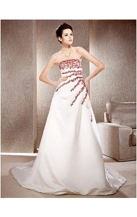 A-line Strapless Chapel Train Satin And Lace Wedding Dress