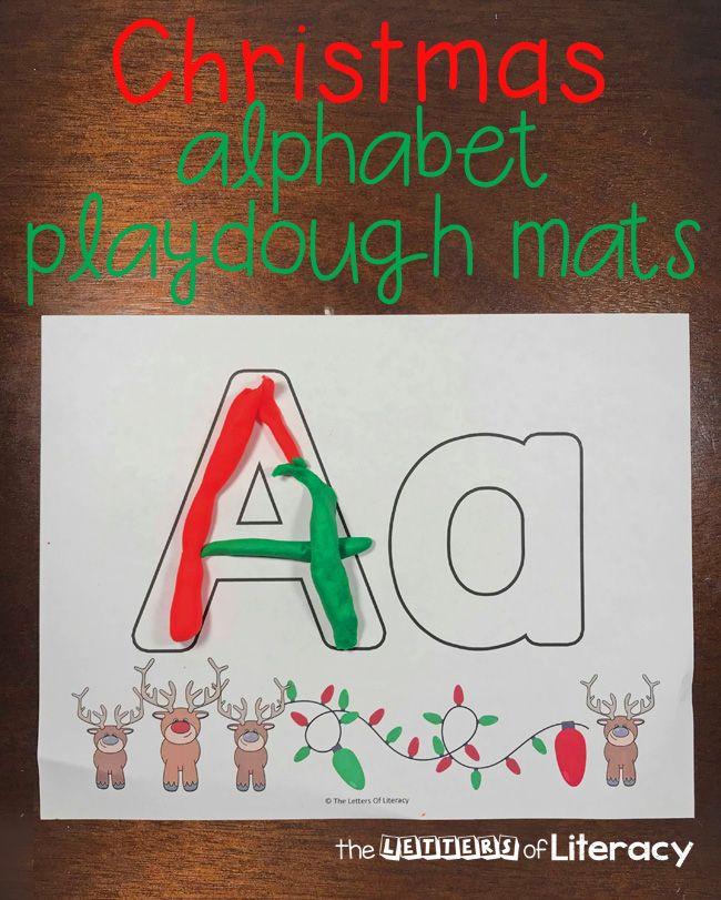 Christmas Alphabet Play Dough Mats Free Printables For Pre K Kinder Christmas Alphabet Alphabet Activities Preschool Playdough Mats