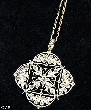 A platinum and diamond necklace - jewellery saved from the Titanic goes on display