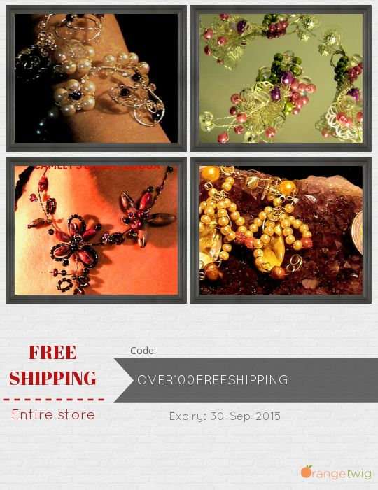 Get Free Shipping our Entire Store now! Enter Coupon Code: OVER100FREESHIPPING Restrictions: Expiry: 30-Sep-2015. Click here to avail coupon: https://orangetwig.com/shops/AABDziU/campaigns/OVER100FREESHIPPING_AABDziU_2015007?cb=2015007&sn=CamelysUnikatBijou&ch=pin&crid=AABGHJu