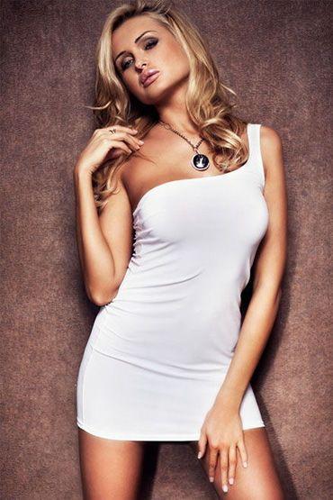 Erolanta платье, белое На одно плечо
