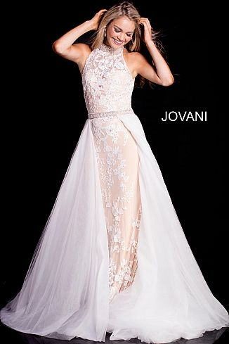 1de7dd5ec72f2 Jovani Blush and White Floral Appliqué with attached cape Ypsilon Dresses  Prom Pageant Evening Wear Utah Dress Store Homecoming Sweethearts School  Dance ...