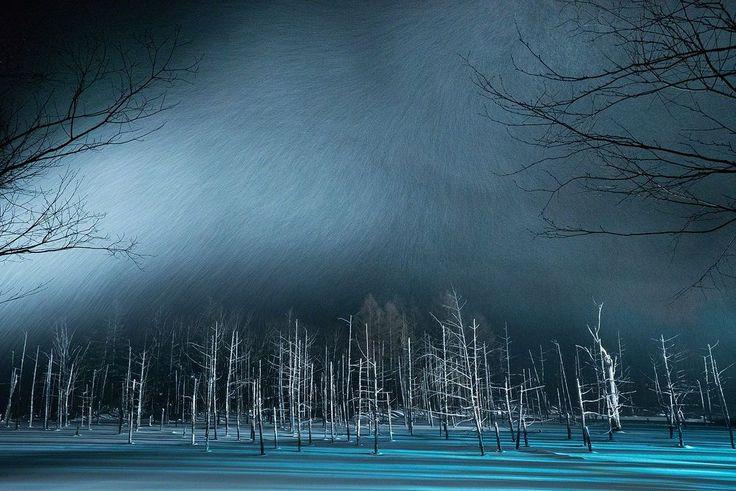 """Lago blu nella neve, Hokkaido   Fotografia di Kent Shiraishi, Your Shot   """"A dicembre il famoso Lago Blu di Biei si era trasformato in un lago innevato"""", spiega l'autore. """"Ho percepito un senso di sacro misticismo. Lo splendido paesaggio di Hokkaido è da non perdere""""."""