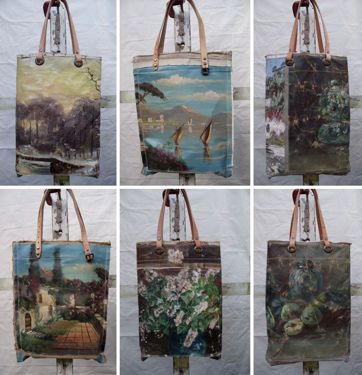 Swarm.   This woman makes bags, jewelry, and a multitude of other items from old paintings!   Very cool!