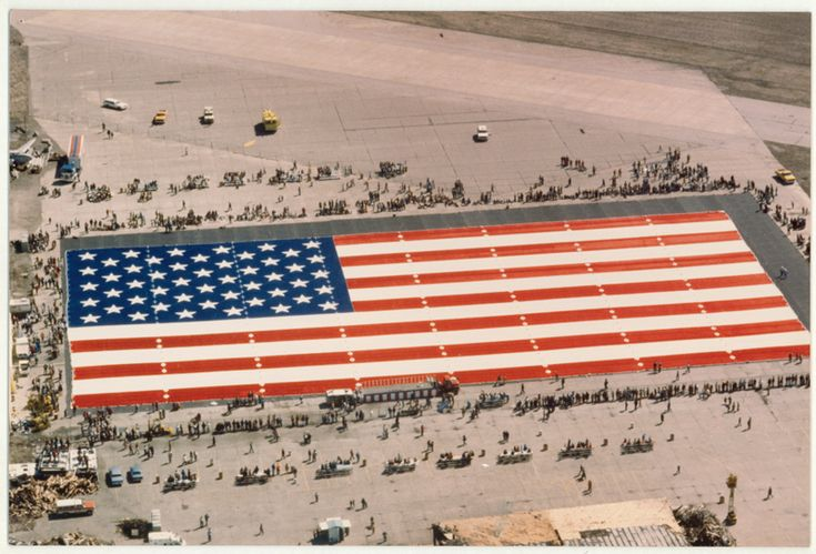 The Great American Flag, a mammoth U.S. flag measuring 411 feet by 210 feet, was produced in Evansville by Anchor Industries in 1980.
