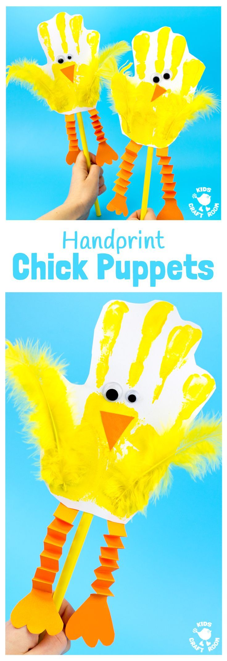 Check out these adorable chick puppets make with handprints. A super art and craft activity that can then be used for dramatic play and storytelling. Great for your spring, farm, or baby animal studies!