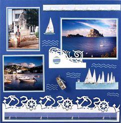 Modrobílé moře - scrapbooková stránka