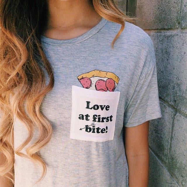 "New pizza tshirt   Search ""Love At First Bite Pocket Tshirt (Grey)""  Selling out fast at @ootdfash  www.ootdfash.com  Shop link in our bio <333 #pizza #hair #ootdfash"
