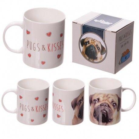 Mug en porcelaine - Carlin Pugs & Kisses
