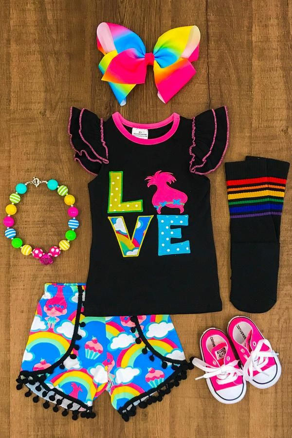 "Our Trolls inspired ""LOVE"" Pom Pom short sets are great quality and stunning!  So cute with LOVE appliqued on the front so colorful and fun! One of our Favs!! P"