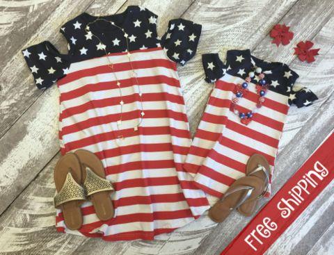 Open Shoulder Patriotic Dress