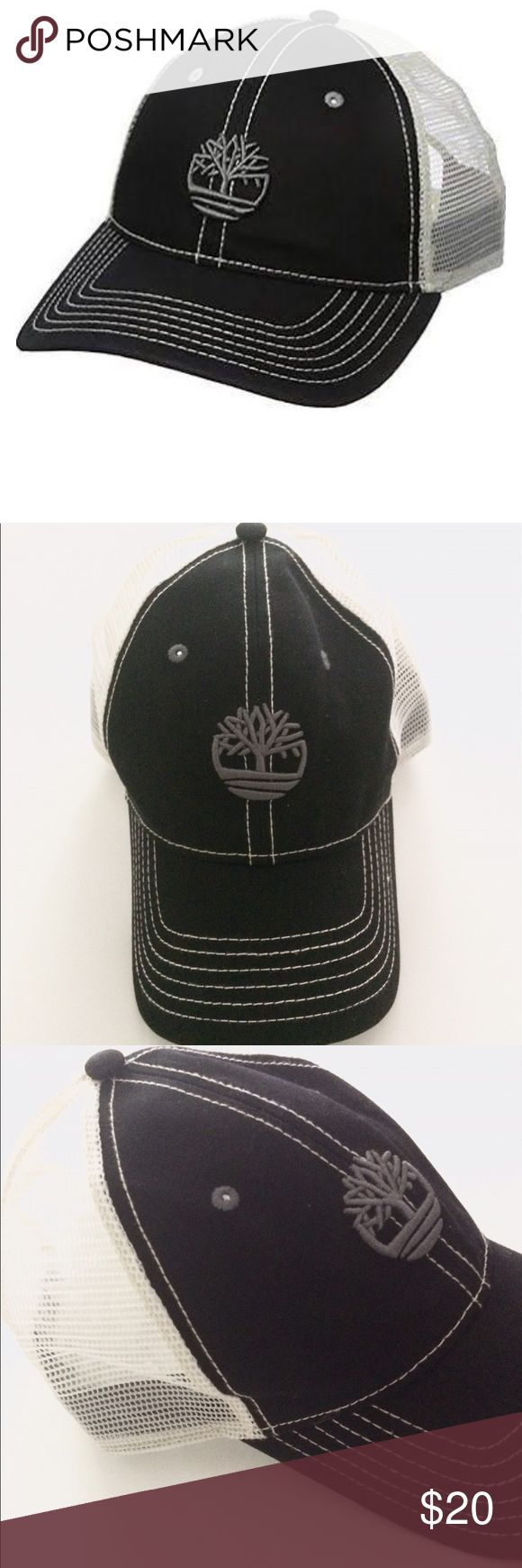 NEW! Timberland Hat Awesome unisex navy and white trucker hat. Cute tree logo on the front. 57% polyester, 43% cotton Adjustable back plastic strap Timberland Accessories Hats