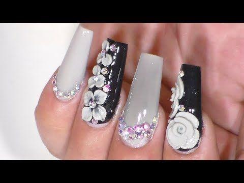 Uñas acrílicas en tono champagne. muy femeninas románticas y glamurosas!! - YouTube