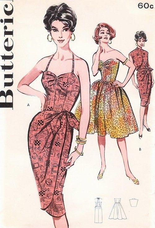 1960 Hot SARONG Cocktail Dress Pattern Butterick 9629 Bombshell Strapless or Halter Slim Sarong or Full Skirt Cocktail Evening Party Dress Sweetheart Neckline  Sleeveless Bolero Tiki Style Bust 32 Vintage Sewing Pattern