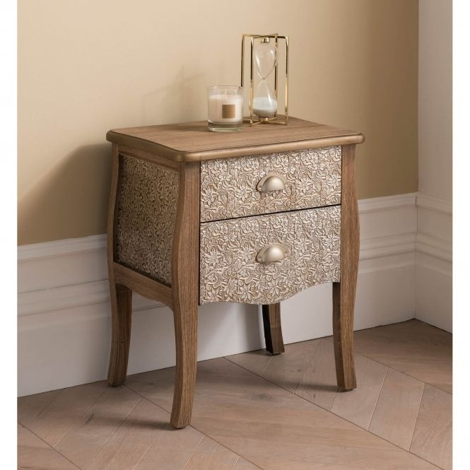 2 Drawer Antique French Style Bedside Table Bedside Table