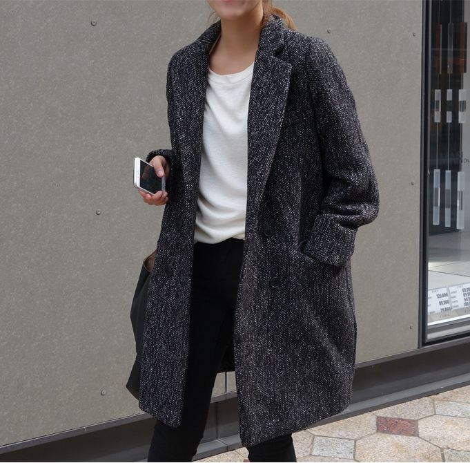 Gray Coat | White Shirt | Black Pants | Street Style