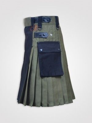 Black and Olive Green Double Tone kilt with Leather Straps http://dkilts.com/product-category/kilts-for-men/hybrid-tactical-kilts/