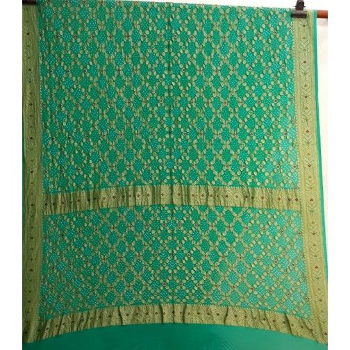 Turquoise green georgette bandhani jangla with banarasi border