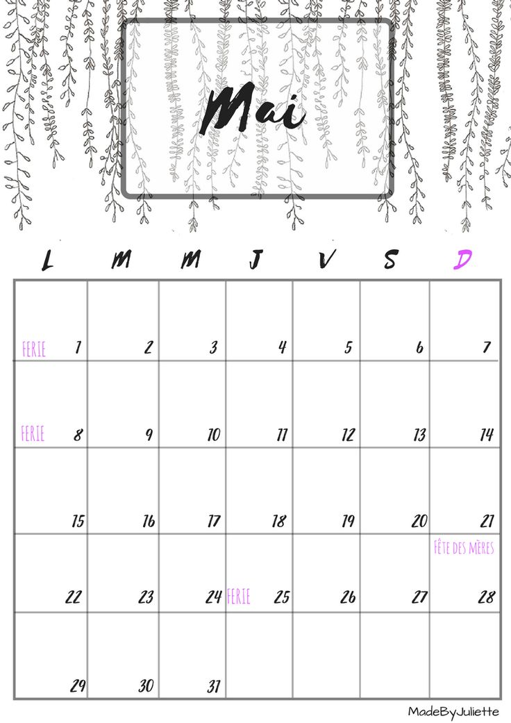 Calendrier - Mai 2017 - Imprimes le calendrier pour customiser ton agenda! A VOIR : ma vidéo sur youtube                                                                                                                                                                                 Plus