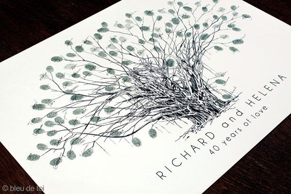 New Tropical Banyan Tree Design, The original hand-drawn guest book fingerprint tree (ink pads sold separately)