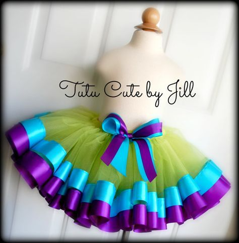 Sewn Lime Green Tutu With Turquoise Blue and Purple Satin Ribbon Trim. By Tutu Cute by Jill
