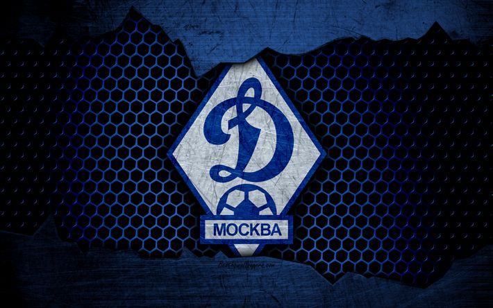 Download wallpapers Dynamo Moscow, 4k, logo, Russian Premier League, soccer, football club, Russia, grunge, metal texture, Dynamo Moscow FC
