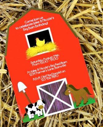 Invitations Anniversaire Ferme avec enveloppe - Personnalisées