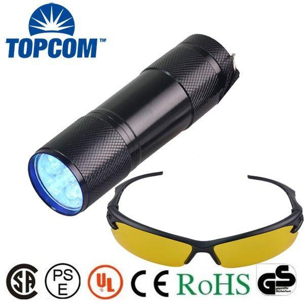 Wholesale Factory Price Dry Battery 9 LED 365nm UV Flashlight/ Best Quality 9 LED Mini Blacklight Flashlight Urine detector