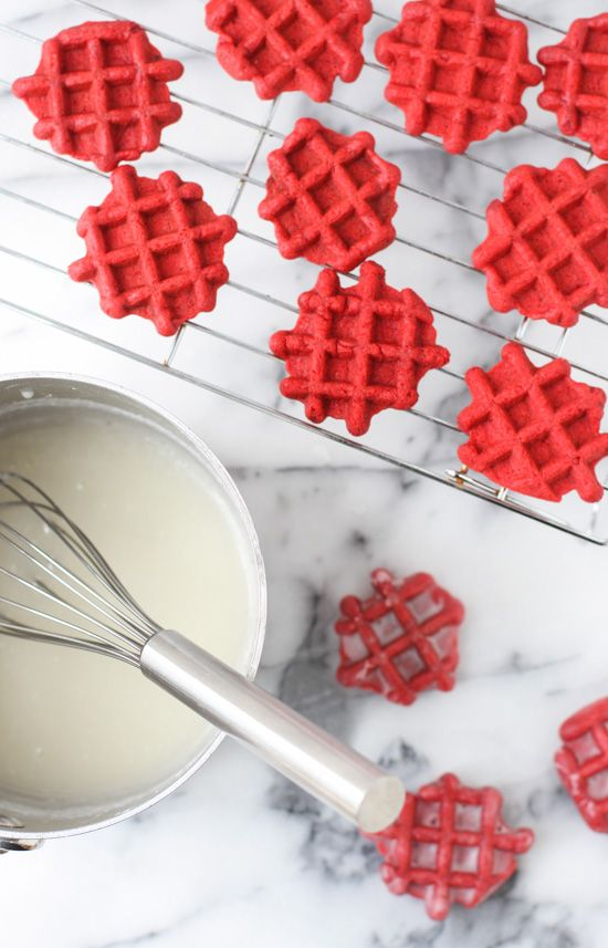 Homemade Red Velvet Waffles Dipped in a Donut Glaze | Paper & Stitch