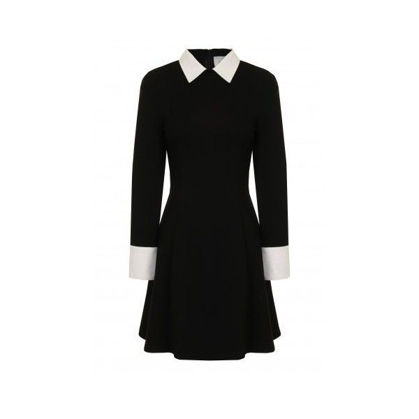 Black White Structured Long Sleeve Collar Cuff Dress ($72) ❤ liked on Polyvore featuring dresses, white and black dress, collar dress, long sleeve collared dress, black and white long sleeve dress and longsleeve dress
