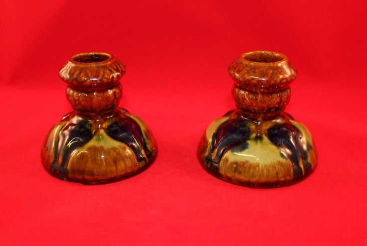 2 RARE Brush McCoy Pottery AMARYLLIS Candlestick Holder Pair HTF