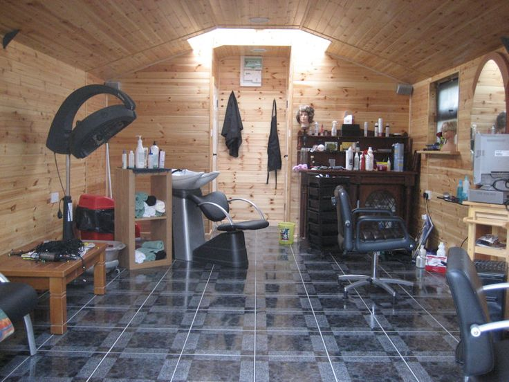 Insulated Garden Shed used as  home hair salon. I love this idea,  but I would paint the walls different and use a lighter wood flooring to make a small space look bigger and more inviting.