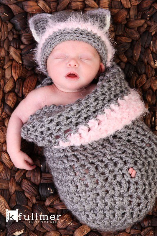Baby Cocoon set Baby Kitty Cat Hat Crochet. by YvetteMarieDesigns - a great gift!
