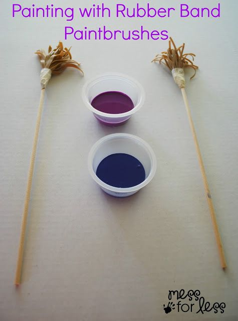 Painting with Rubber Band Paintbrushes